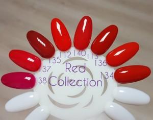 цветной гель для ногтей красная коллекция