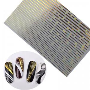 полоски для ногтей золотые галографические