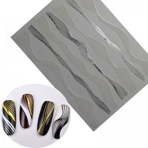 полоски лоя ногтей волна серебро